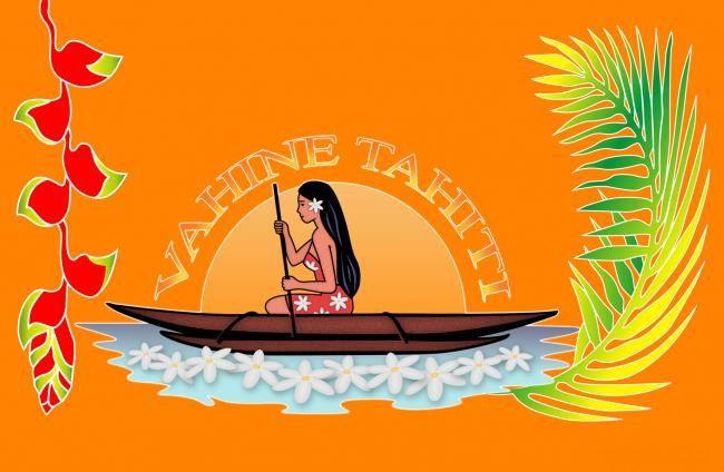 Paréo fleuris Vahine Tahiti orange