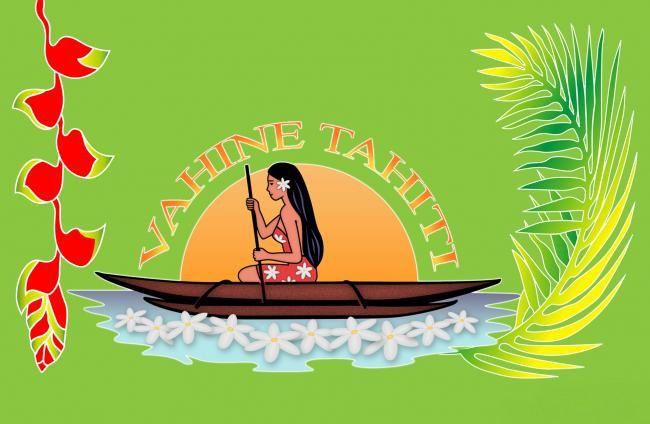 Paréo fleuris Vahine Tahiti vert