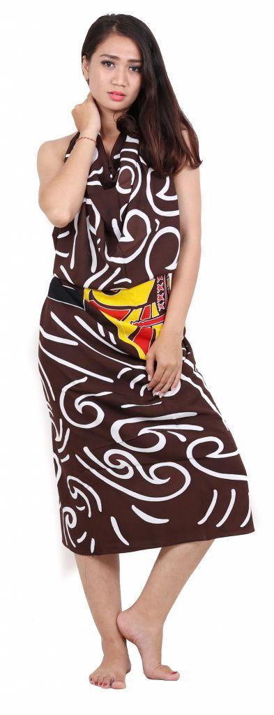 Paréo j\'aime Tahiti marron