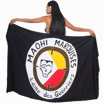 Paréo Maohi Marquises noir