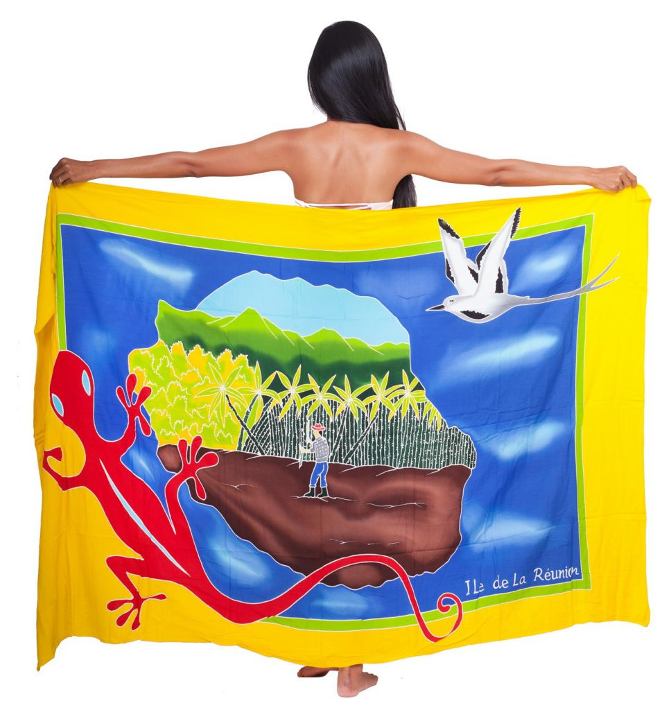 Paréo margouillat et carte La Réunion