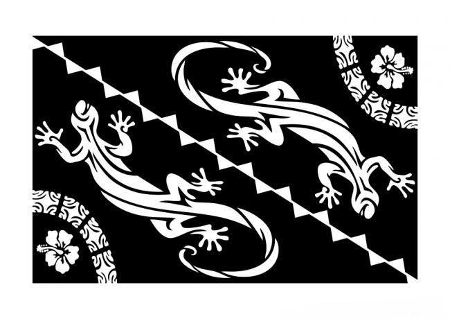 Paréo margouillat noir et blanc