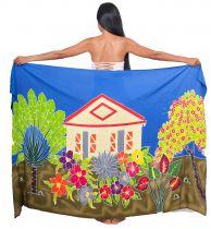 Paréo peint main maison traditionnelle