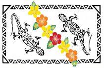 Paréo peint main tatoo gecko blanc