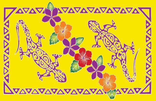 Paréo peint main tatoo gecko jaune