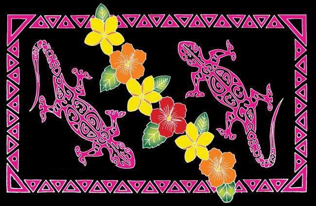 Paréo peint main tatoo gecko noir