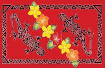 Paréo peint main tatoo gecko rouge