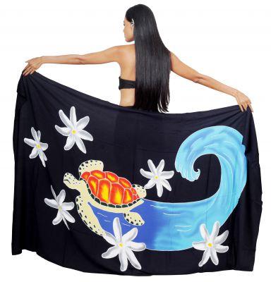 Paréo peint main tortue surfeuse noir