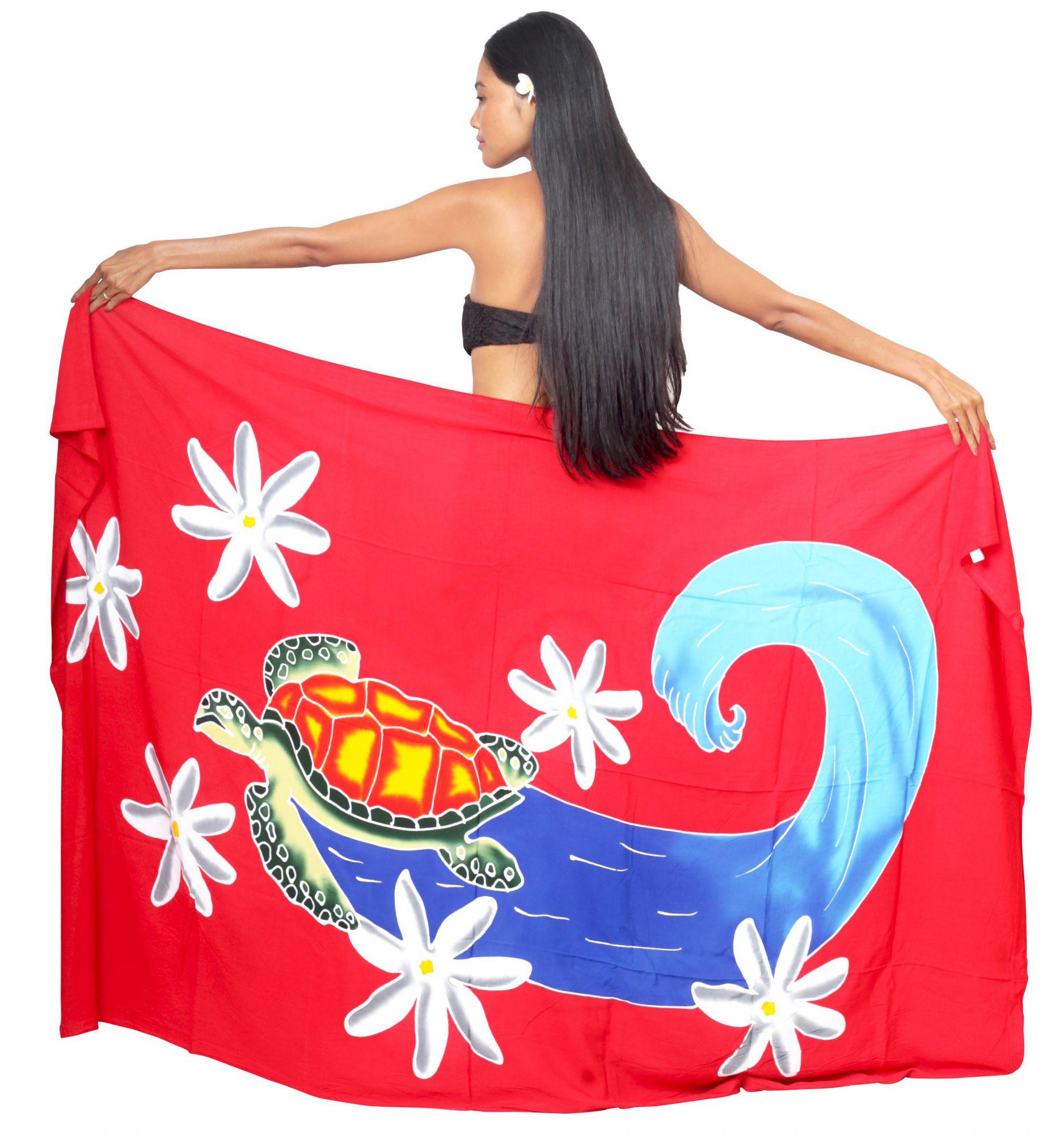Paréo peint main tortue surfeuse rouge