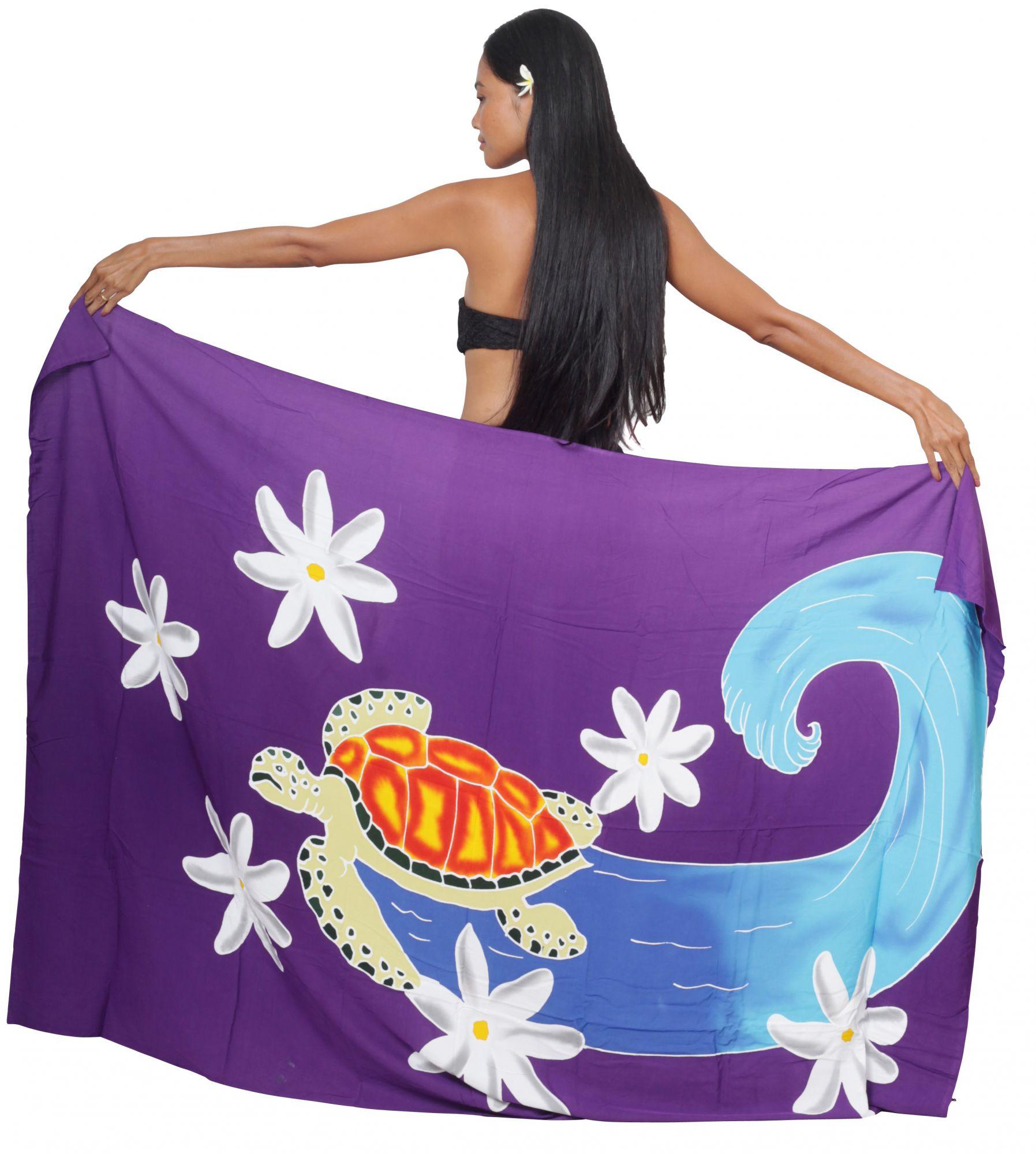 Paréo peint main tortue surfeuse violet
