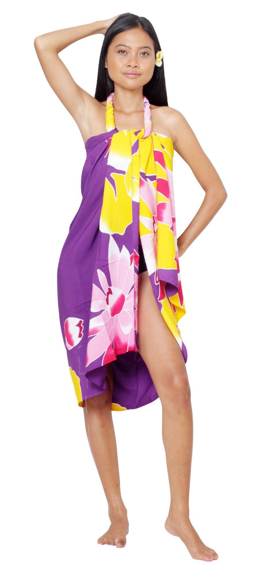 Paréo Polynésie Honu violet