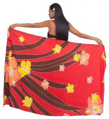 Paréo Tahiti motu rouge