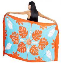 Paréo Tifaifai orange et turquoise