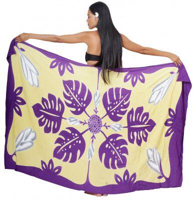 Paréo Tifaifai violet blanc