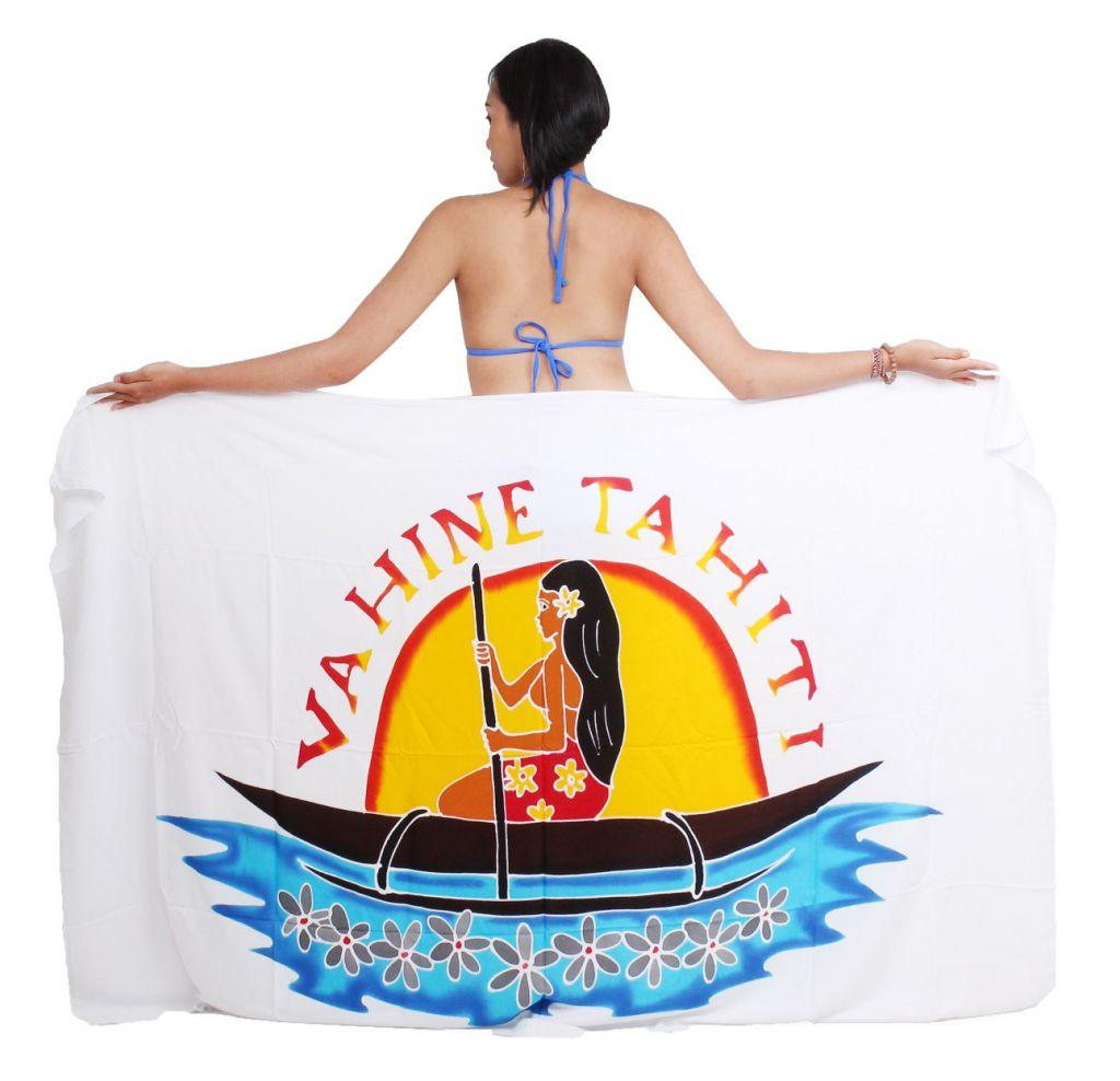 Paréo Vahine Tahiti blanc