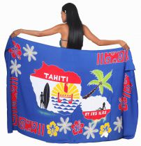 Paréos carte Tahiti bleu