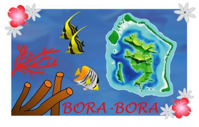 Paréos drapeau Bora Bora blanc