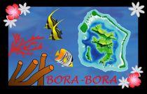 Paréos drapeau Bora Bora noir