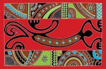 Paréos peint main gecko tapa rouge