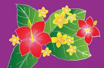 Paréos peint main Honolulu violet