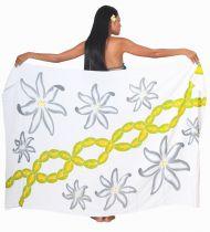Paréos peint main Papeete blanc