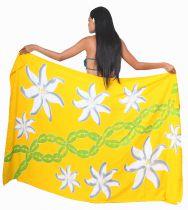 Paréos peint main Papeete jaune