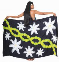 Paréos peint main Papeete noir