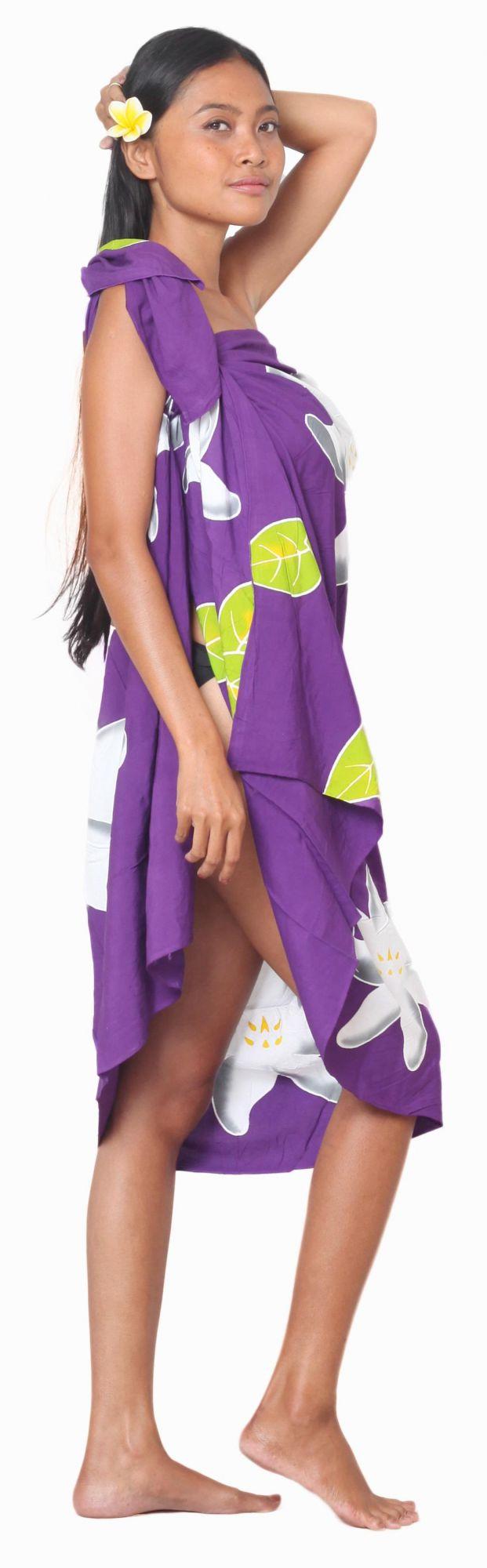 Paréos peint main Papeete violet
