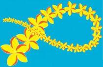 Paréos de Tahiti de grande taille peint main Phuket bleu