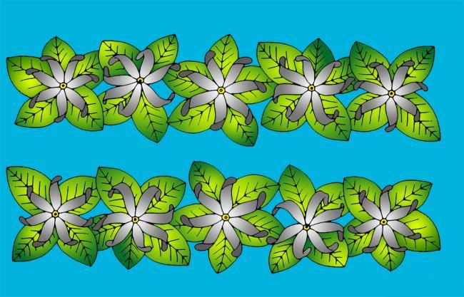 Paréos peint main Tiare Tahiti bleu