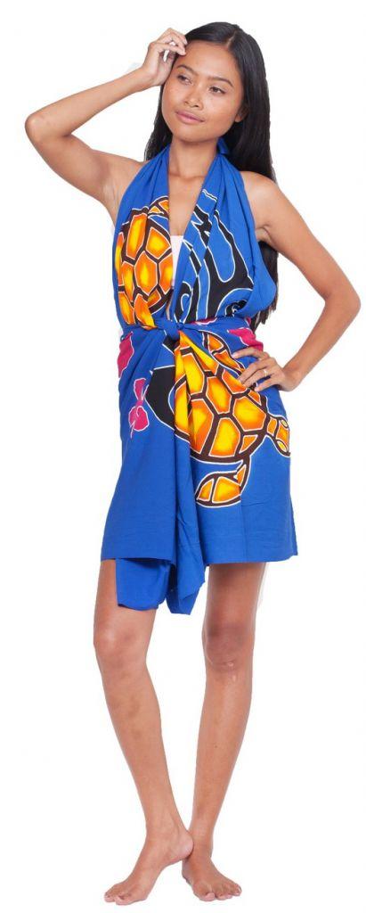 Paréos peint main tortue bleu