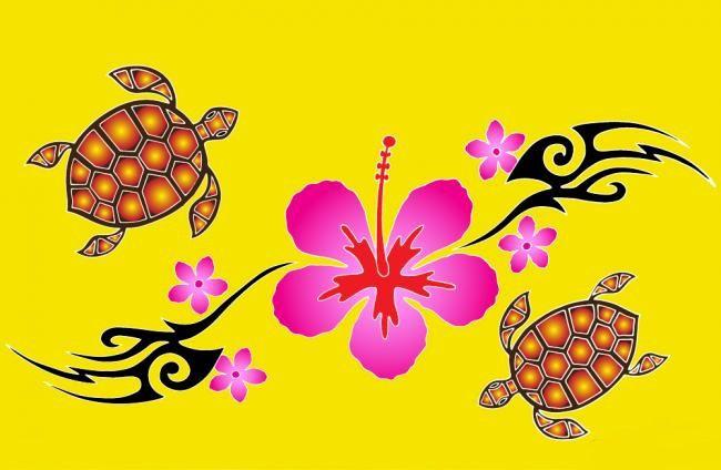 Paréos peint main tortue jaune