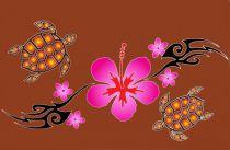 Paréos peint main tortue marron