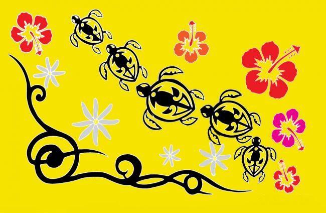 Paréos Tahiti promenade jaune