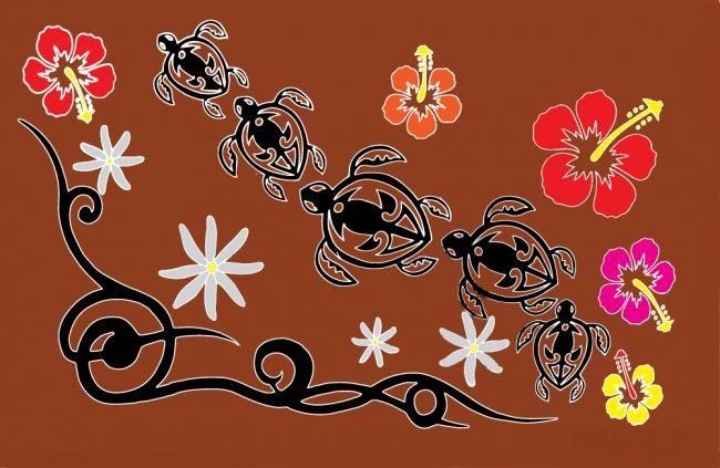 Paréos Tahiti promenade marron