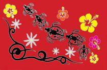 Paréos Tahiti promenade rouge