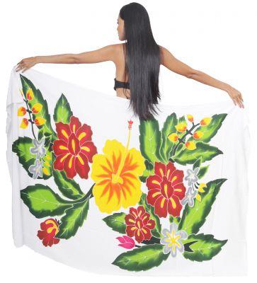 Paréos Tahiti trio d\'hibiscus blanc