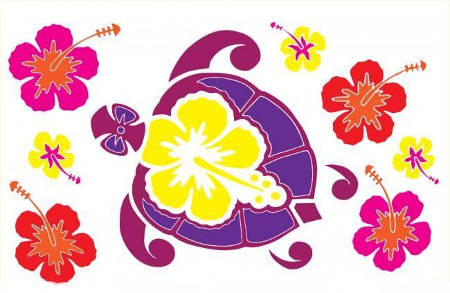 Paréos tortue et hibiscus blanc