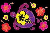 Paréos tortue et hibiscus noir