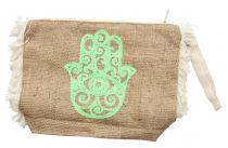 Pochette naturel Khamsa vert