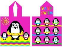 Poncho éponge enfants pingouin 100% coton.
