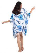 Poncho paréos fleurs et gecko bleu