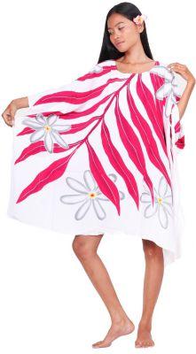 Poncho paréos tiaré Tahiti blanc
