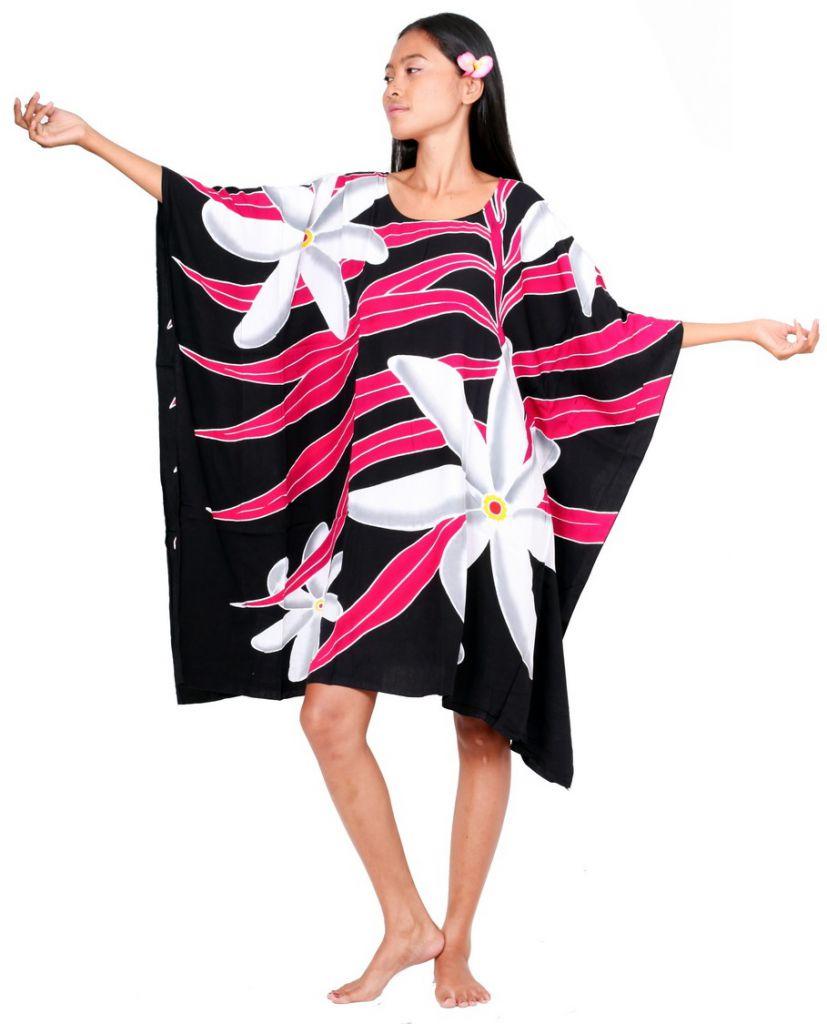 Poncho paréos tiaré Tahiti noir