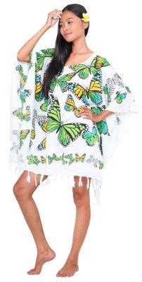 Poncho paréos vol de papillon blanc