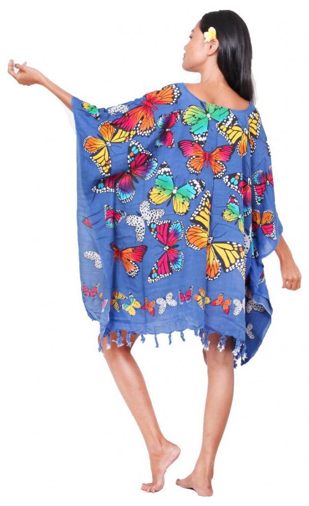 Poncho paréos vol de papillon bleu nuit