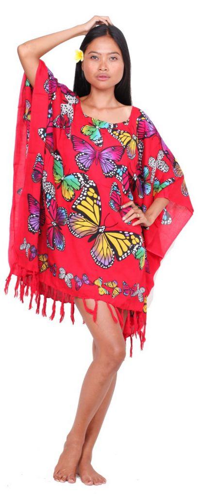 Poncho paréos vol de papillon rouge