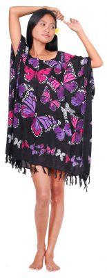 Poncho paréos vol de papillon violet