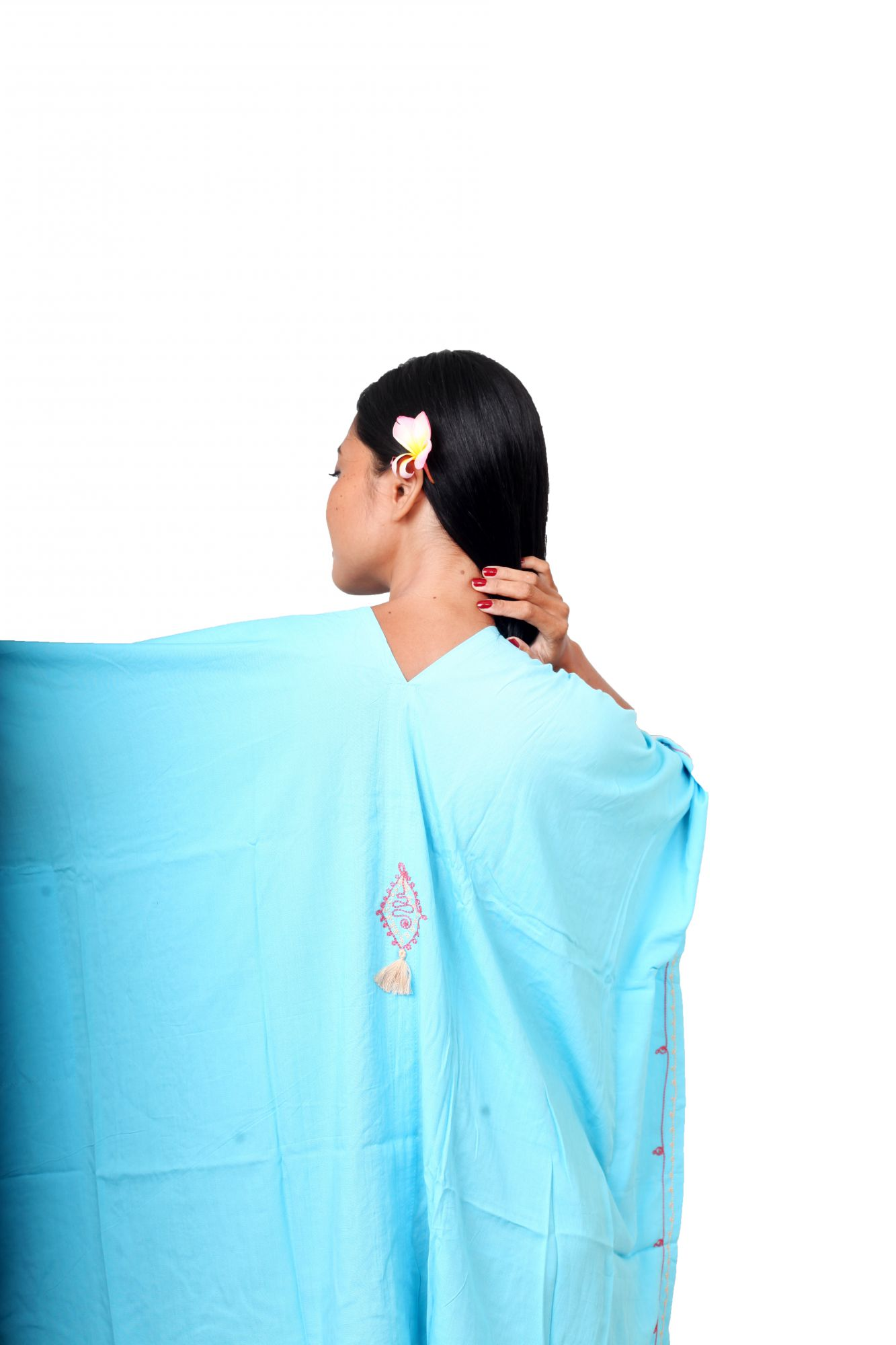 Robe ample d\'été brodée bleu turquoise