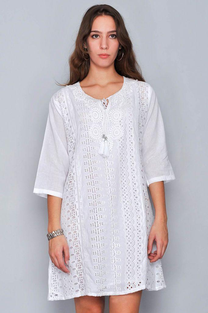 Robe blanche de plage St Tropez